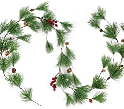 CEWOR 6.56ft Christmas Garland Artificial Pine Berry Garland for Winter Xmas Party Decorations