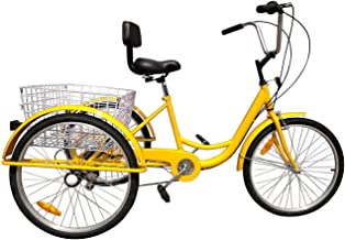 Areyourshop 24 Inch Adult Bicycle 6/7-Speed 3 Wheel Cruise Bike Tricycle Trike with Basket