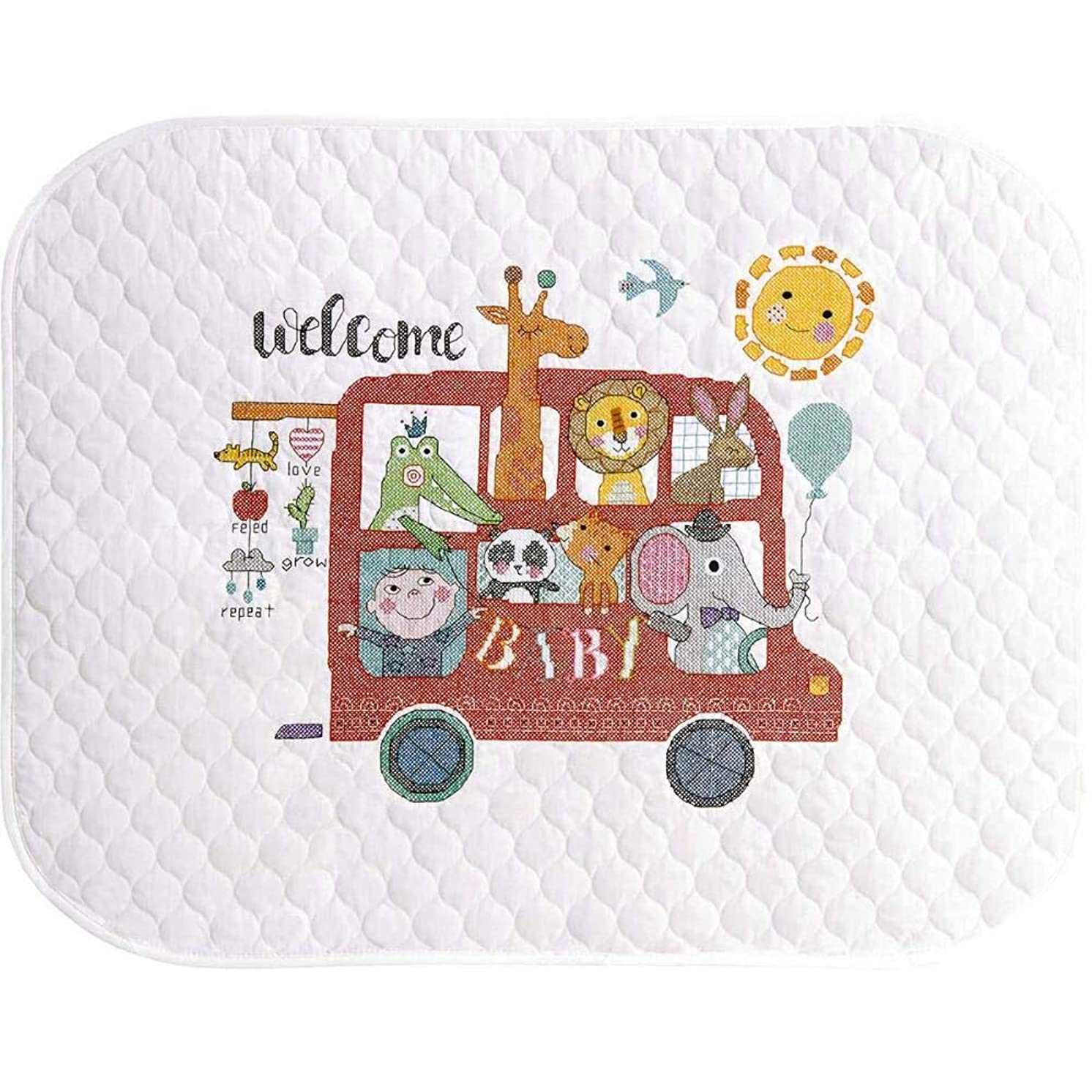 Dimensions ''Baby On Board'' Stamped Cross Stitch Quilt Kit, 43''L X 34''W