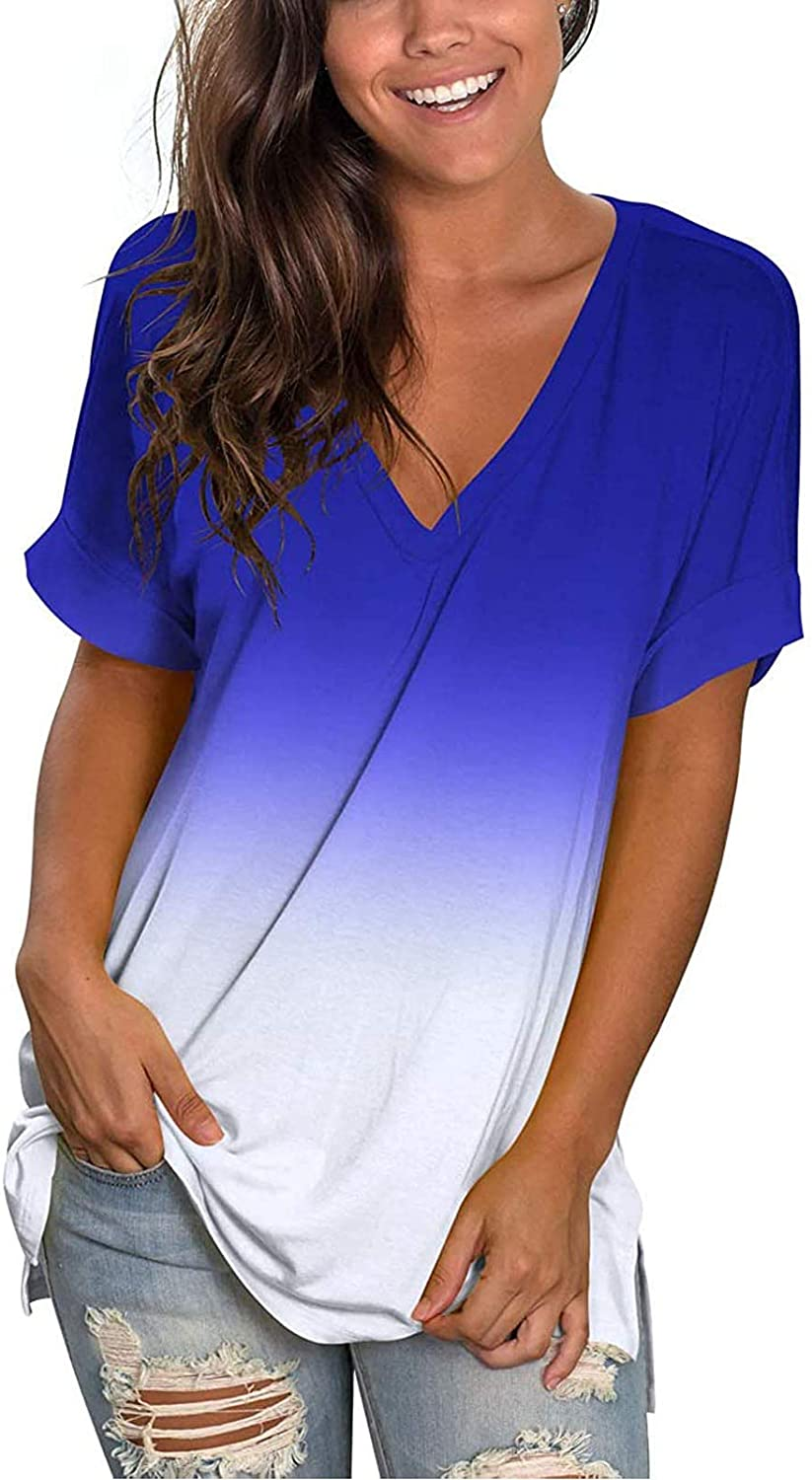 Womens Summer Tops,Women's Tie Dye Print T-Shirts Casual Short Sleeve Tops Blouse V-Neck Tunic Tee Tops