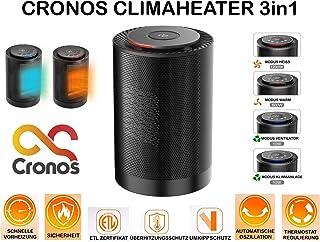 CroNOS CLIMAHEATER - Calefactor 3 en 1 (termostato, protección antivuelco y protección contra sobrecalentamiento, 1200 W, Certificado ETL), Color Negro
