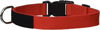 """Dogline Omega Nylon Collar with Space for Removable Patches, Red, W: 1"""" x L: 14""""-18"""""""