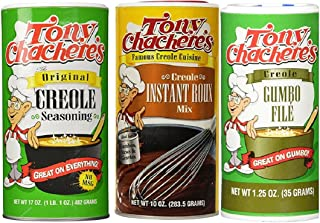 Tony Chachere's Cajun Sensations Bundle - 1 each of Original Creole Seasoning 17 Ounce, Instant Roux and Gravy Mix 10 Ounce and Gumbo File' 1.25 Ounce