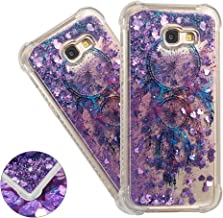 HMTECHUS Galaxy A720 case for Girl 3D Painted Glitter Liquid Sparkle Floating Luxury Quicksand Shockproof?Protective Diamond Silicone Slim Cover for Samsung Galaxy A7 2017