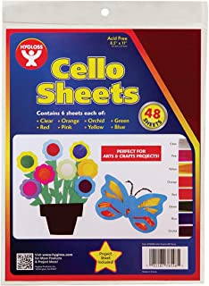 Hygloss Products Cellophane Sheets - 6 Sheets of 8 Bright, Vivid Colors - Great for Arts, Crafts, DIY Projects, Wrapping Gifts, Classroom Activities, Holidays & Much More - 8.5 by 11-Inches, 48 Pack, Green/Orange/Pink/Red, Model:78548