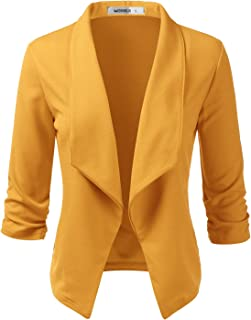 DOUBLJU Womens Casual Work Ruched 3/4 Sleeve Open Front Blazer Jacket with Plus Size