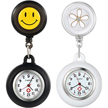 2 Pack Retractable Lapel Watch with Second Hand for Nurses Doctors Clip-on Hanging Nurse Watches Cute Leaves/Smile Face Pattern Silicone Cover Badge Stethoscope Fob Watch