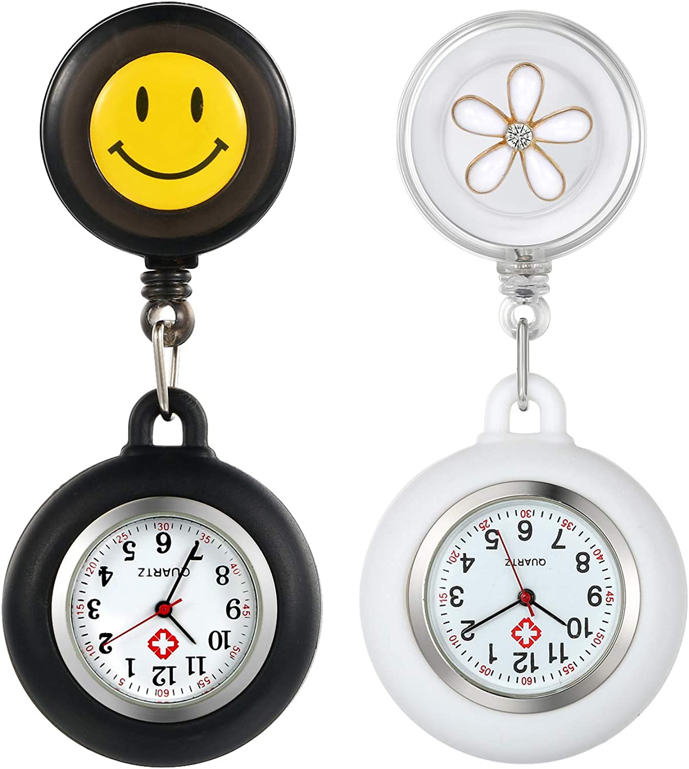 Lowest price challenge 2 Pack Retractable Lapel Popular standard Watch with for Nurses Docto Second Hand