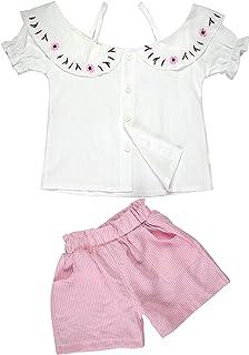 Traje Algodón Bebé Niñas Linda Blusa Ropa Corta Mangas Conjunto con Pantalones Cortos