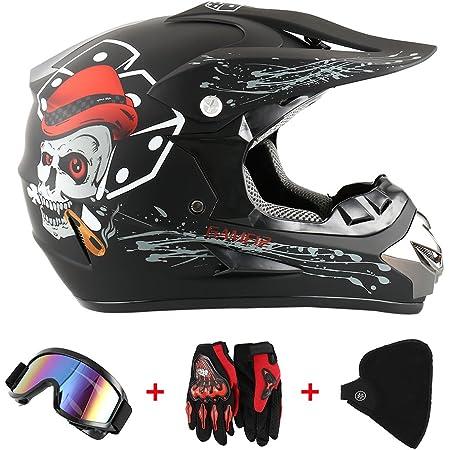 Motorradhelm Cross Helme Schutzhelm Motocross Helm Für Motorrad Crossbike Off Road Enduro Sport Mit Handschuhe Sturmmaske Und Brille 58 59cm Skelett Schwarz Auto