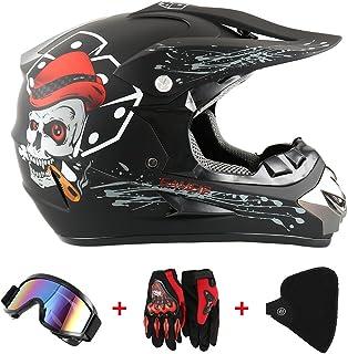 Motorradhelm Cross Helme Schutzhelm Motocross Helm für Motorrad Crossbike Off Road Enduro Sport mit Handschuhe Sturmmaske und Brille 58-59CM Skelett Schwarz