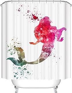 BROSHAN Colorful Mermaid Shower Curtain for Kids Girls Bathroom Set, Watercolor Art Print Bath Curtain Cute Waterproof Fabric Bathroom Decor Set with Hooks, 72 x 72 Inch