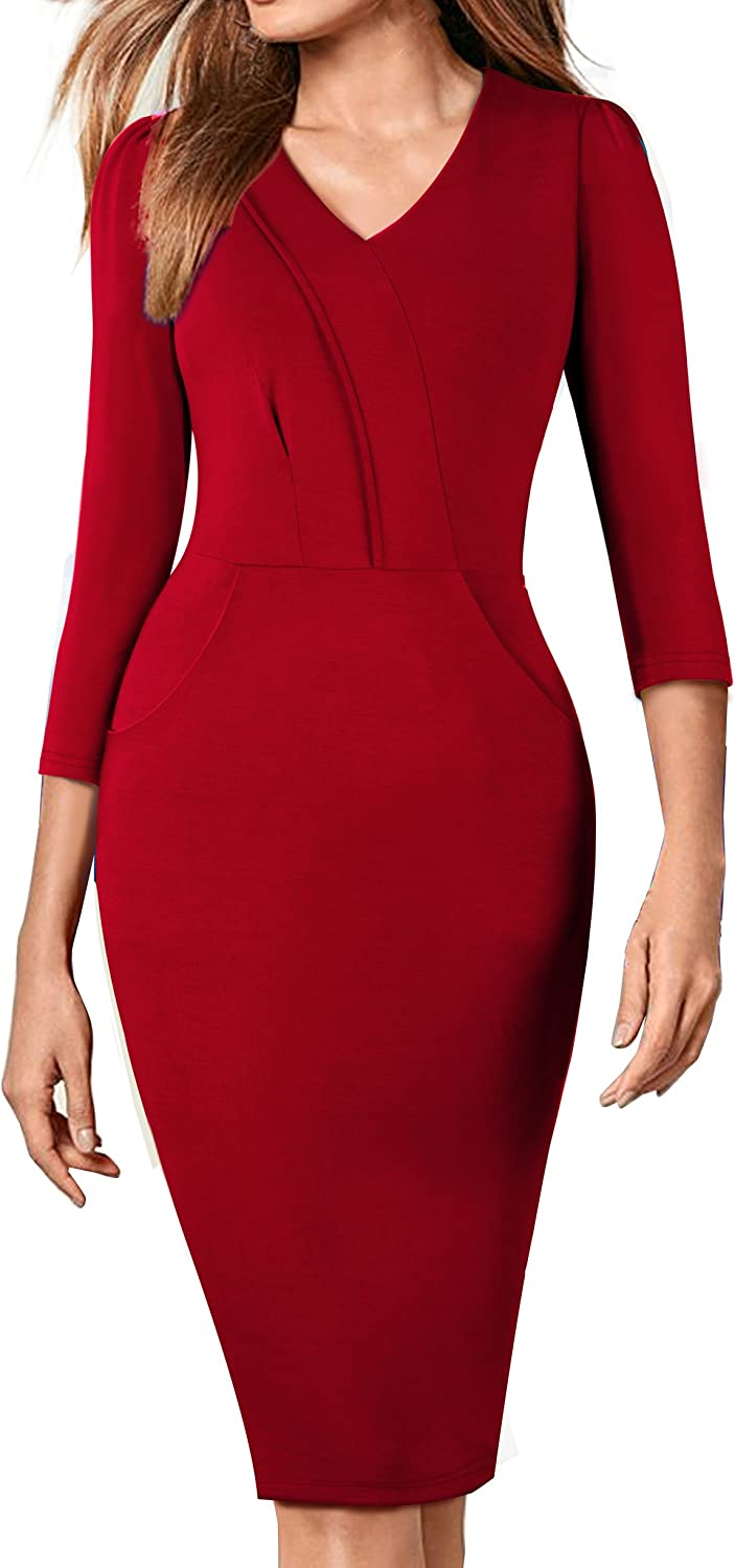 HOMEYEE Women's Elegant VNeck Wear to Work Party Pencil Sheath Dress B368