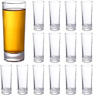 Shot Glasses 2 Oz Clear Tall Shot Glass with Heavy Base Shot Glass Set for Whiskey Tequila Vodka Liquors, 16 Pack (16 Pack)