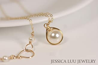 Gold Ivory Pearl Necklace Cream Swarovski Pearl Solitaire Necklace and Earrings Set Wire Wrapped Yellow or Rose Gold Filled