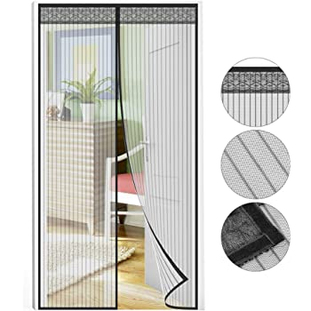Puerta mosquitera 210 x 90 cm, protección contra insectos, magnética, de gasa, para la Puerta del Sótano, de la terraza, del balcón o del Salón: Amazon.es: Bricolaje y herramientas