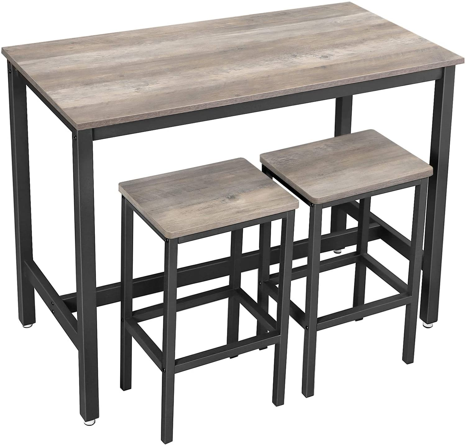 VASAGLE Bar Table Set with 9 Bar Stools Kitchen Counter with Bar Chairs  Kitchen Table and Kitchen Chairs Industrial Design