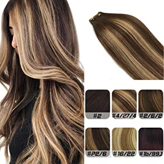 Labhair Human Hair Extensions Silk Straight Tape in Hair Extensions Straight Multi Color Chocolate Brown #4 Highlighted Honey Blonde #27 Ombre Remy Tape in Human Hair Extensions 20pcs/50g 22