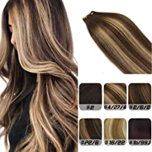 Labhair Tape In Hair Extensions Human Hair Balayage Hair Extensions Chocolate Brown Highlighted Honey Blonde Ombre Real Remy Tape in Hair Extensions 20pcs/50g 14inch