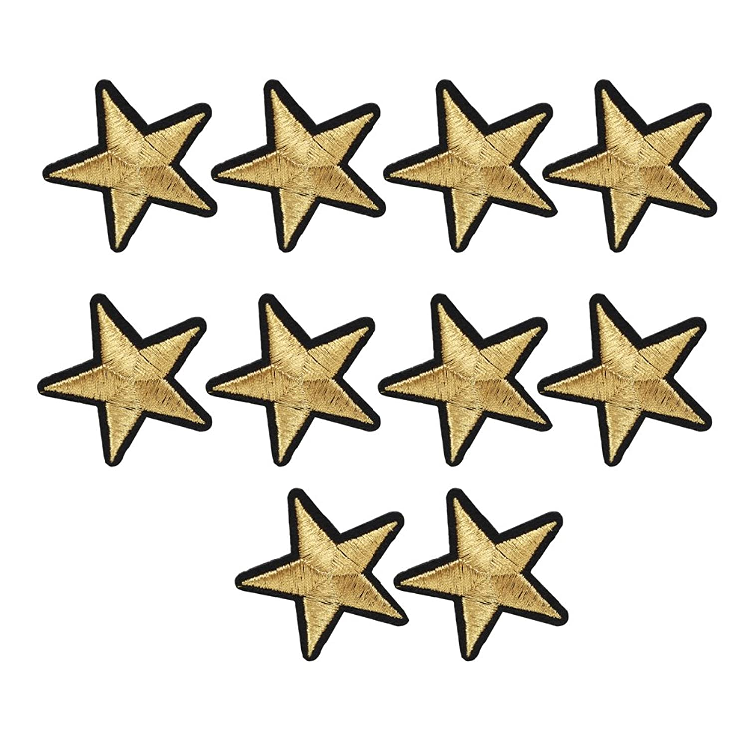 XUNHUI 10 pcs Gold Star Embroidered Badges Iron On Patches for Clothing Applique Sticker for Clothes