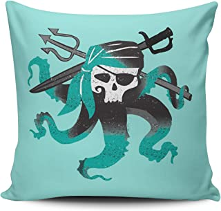 Fanaing Aqua Mint and Turquoise Pirate Skull Logo 18X18 Inch Square Throw Pillow Case Decor Cushion Covers One-Side Printed