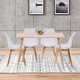 GOLDFAN Tables de Salle à Manger Table en Bois et 4 Chaises Scandinave Blanc pour Cuisine Salon Bureau, Blanc(avec Coussin)