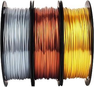 Shiny Silk Gold Silver Copper PLA Filament Bundle, 1.75mm 3D Printer Filament, Each Spool 0.5kg, 3 Spools Pack, with One 3...
