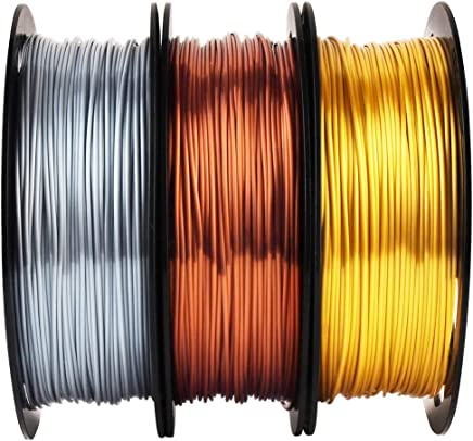 Shiny Silk Gold Silver Copper PLA Filament Bundle, 1.75mm 3D Printer Filament, Each Spool 0.5kg, 3 Spools Pack, with One 3D Printer Remove Tool MIKA3D