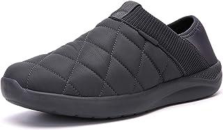 شباشب KUBUA للرجال والنساء داخل المنزل أحذية من القطيفة سهلة الارتداء في الهواء الطلق حديقة متسكعون, (رمادي داكن), 36/37 EU