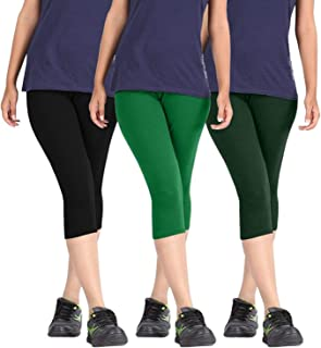 Fablab Women's Capri Pants_Leggings_Cotton_westernwear(BlackGreenDarkGreen,Free Size) Combo Pack of 3.
