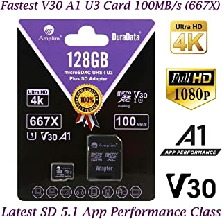 128GB Micro SD Card Plus Adapter Pack, Amplim 128 GB MicroSD SDXC Class 10 Pro U3 A1 V30 Extreme Speed 100MB/s UHS-I UHS-1...