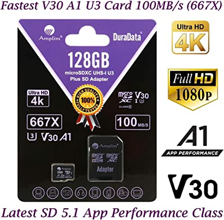 $23 Get 128GB Micro SD Card Plus Adapter Pack, Amplim 128 GB MicroSD SDXC Class 10 U3 A1 V30 Extreme Pro Speed 100MB/s UHS-I UHS-1 TF XC MicroSDXC Memory Card for Cell Phone, Nintendo, Galaxy, Fire, Gopro
