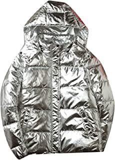 QianQian-AU Mens Fashion with Hood Glitter Metallic Quilted Thick Down Jacket Coat