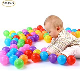 Yiba Made Baby Balls 100 Pack with Non Toxic Pit Balls Color Plastic Balls for Kids Toddlers with Phthalate Free BPA Free Crush-Proof