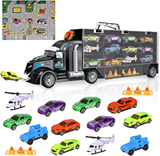 iBaseToy Transport Car Carrier Truck Toy for Boys and Girls, Toy Truck Carrier with Car Toys Inside (Includes 8 Sports Car, 2 Off-Road Cars, 2 Helicopters, 2 Roadblocks and 1 Town Map)