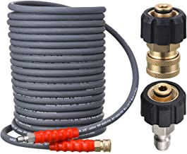 RIDGE WASHER Pressure Washer Hose 50 Feet X 3/8 Inch for Hot and Cold Water, with M22 14mm to 3/8 Inch Quick Connect, 4000...
