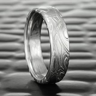 Flat Damascus Steel Wedding Band   EDDY & POOLS