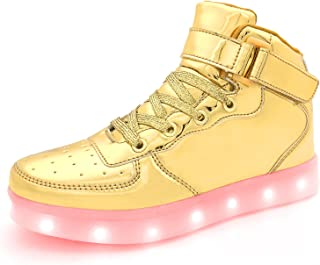 ad7ca9044a7d APTESOL Kids Youth LED Light Up Sneakers Boys Girls High Tops Cool Flashing  Shoes for Toddler