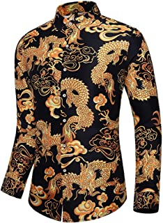 SKLHSIL Hombre Manga Larga Camisa,Camisa Casual Floral Slim Fit Funky Golden Dragon Impresión Camisa De Algodón con Botone...