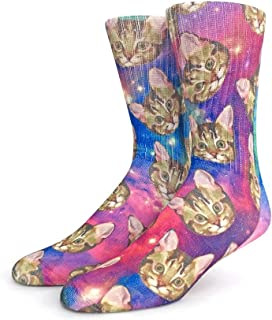 Funny Crazy Novelty Crew Socks for Men (L Shoe Size 9 – 12.5, Galaxy Cats)