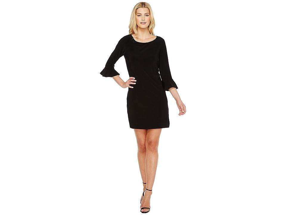 Laundry by Shelli Segal Matte Jersey Flounce Sleeve Dress (Black) Women