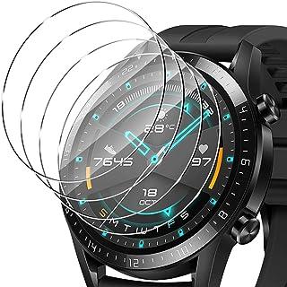 ELYCO [4 Pièces] pour Huawei Watch GT 2 46mm Verre Trempé, 9H Dureté sans Bulles Protection écran Anti-Huile/Anti-Rayures/...