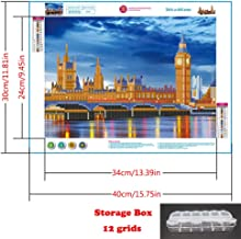 5d Diamond Painting Kits for Adults Kids Beginner Embroidery Night of London Part Drill Diamond Arts Craft for Home Wall Decor 11.81x15.75 inch+Storage Boxes Plastic Container with dividers 12grids