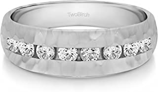 Size 3 to 15 in 1//4 Size Intervals 0.42Ct Sterling Silver Gents Wedding Band Charles Colvard Moissanite