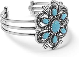 American West Sterling Silver Blue Turquoise Gemstone Cuff Bracelet Size Large