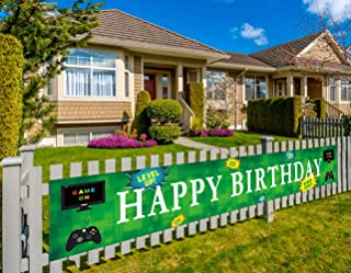 Large Video Game Happy Birthday Banner   Personalized Gaming Birthday Flags with Gamepad Computer Monitor   Gaming Party Decorations (9.8 x 1.5 feet)