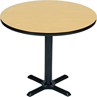 Correll BXT30R-16 Fusion Maple Top and Black Base Round Bar, Café and Break Room Table, 30