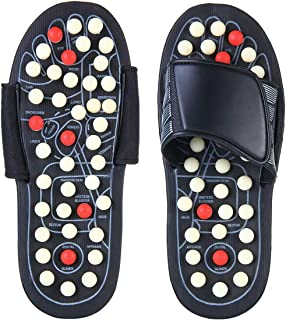 Reflexology Sandals, Aolvo Accupressure Slippers Foot Therapy Massage Slippers with 82 Removable Rotating Acupuncture Poin...