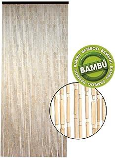 Hogar y Mas Cortina para Puerta Exterior de Bambú Natural,