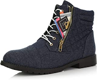 Women's Military Lace Up Buckle Combat Boots Ankle High Exclusive Credit Card Pocket